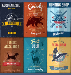 vintage hunting posters collection vector image vector image