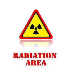yellow warning radiation area icon background vect vector image