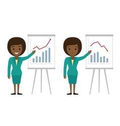 Afro american businesswoman showing graphics vector
