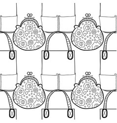 black and white seamless pattern with fashion bags vector image vector image