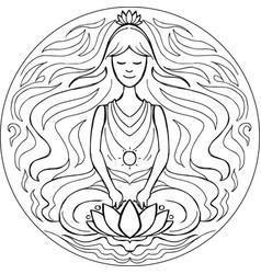 coloring lotus pose mandala vector image