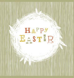 happy easter postcard with nest symbol vector image