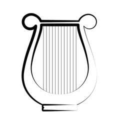 Isolated lyre outline musical instrument vector