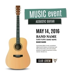 Music concert poster with acoustic guitar vector image