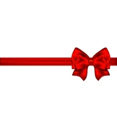 Red bow with ribbon on a white background vector image