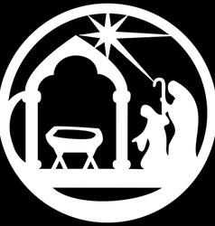 Adoration of the Magi silhouette icon white black vector image