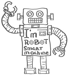 Hand drawn Robot Isolated on White background vector image