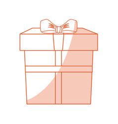 orange shading silhouette cartoon giftbox with vector image vector image
