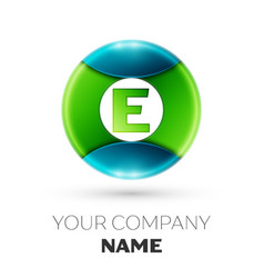 realistic letter e logo symbol in colorful circle vector image vector image