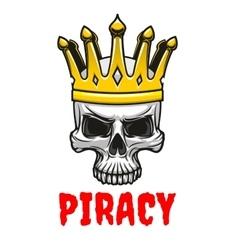Skull in golden king crown cartoon symbol vector image vector image