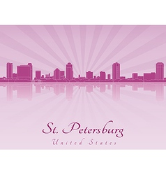St Petersburg skyline in purple radiant orchid vector image