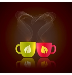 Two cups of tea vector image