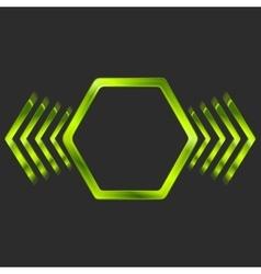 Abstract green metal hexagon and arrows shape vector