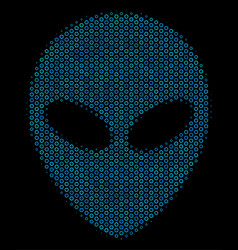 Alien face collage icon of halftone spheres vector