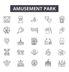amusement park line icons signs set vector image