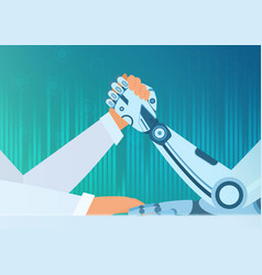 arm wrestling human with a robot artificial vector image