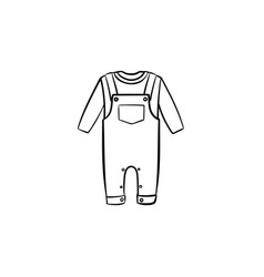 baby overall shirt and pants hand drawn outline vector image
