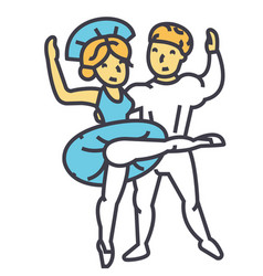 Ballet couple man and woman dance ballerina vector