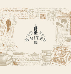 Banner on a writers theme with hand drawn sketches vector