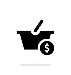 Basket with price simple icon on white background vector