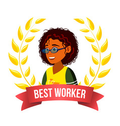Best worker employee afro american woman vector