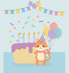 birthday card with little cat character vector image