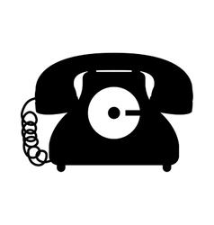 Black silhouette antique phone icon with cord vector