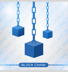 Blockchain technology concept cubic nodes vector