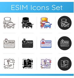 car sharing and rental service icons set vector image