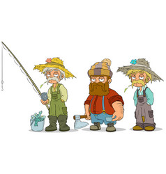 Cartoon fisherman farmer lumberjack characters set vector