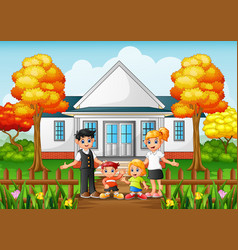 Cartoon happy family in the front yard of the hous vector
