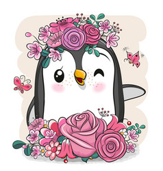 Cartoon penguin with flowers on a white background vector