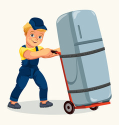 Cartoon porter transporting fridge by cart poster vector