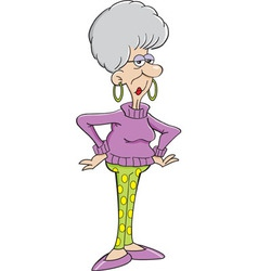 Cartoon senior citizen lady vector