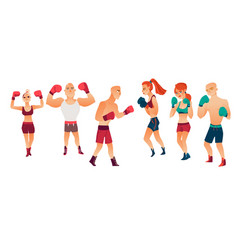 Cartoon stylized althlete boxer woman man vector