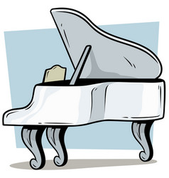 cartoon wooden white grand piano icon vector image