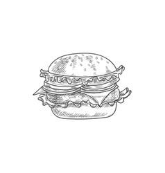 cheeseburger sketch isolated hamburger burger vector image