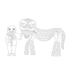 Chinese lion dance vector
