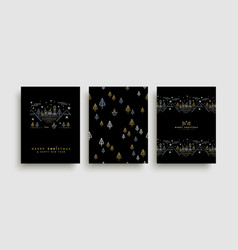 christmas and new year gold outline card set vector image