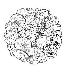 Circle shape coloring page with cute fish sea vector