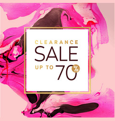 clearance sale square pink and gold banner vector image