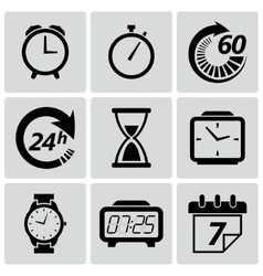 Clock and time icons set vector image
