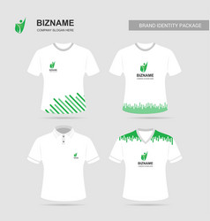 Company logo design t shirts with green theme vector