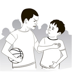 Conflict of two boys basketball vector
