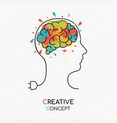 creative art idea concept of human brain vector image