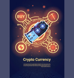 Crypto currency bitcoin microchip banner with copy vector