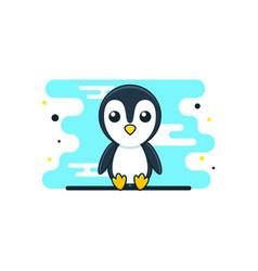 Cute baby penguin cartoon sitting vector