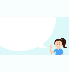 cute girl with big speech bubble flat vector image
