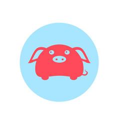 cute piggy circular icon vector image