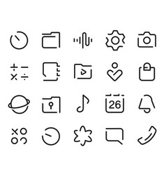 Dashed outline universal smartphone ui icons set vector